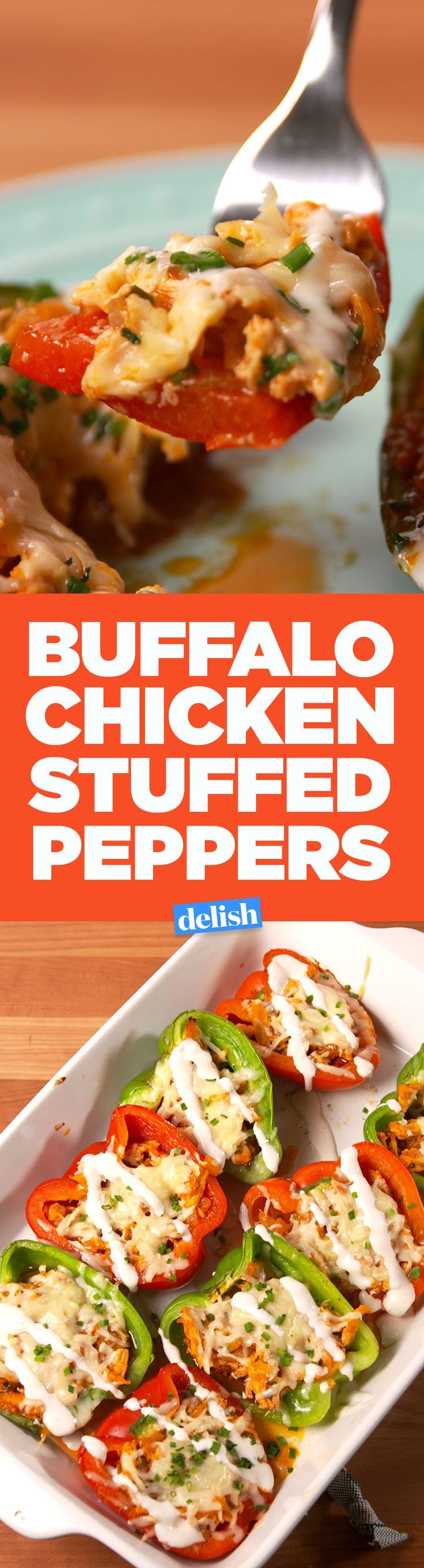 Buffalo Chicken Stuffed Peppers are your two favorite foods in one. Get the recipe on Delish.com.