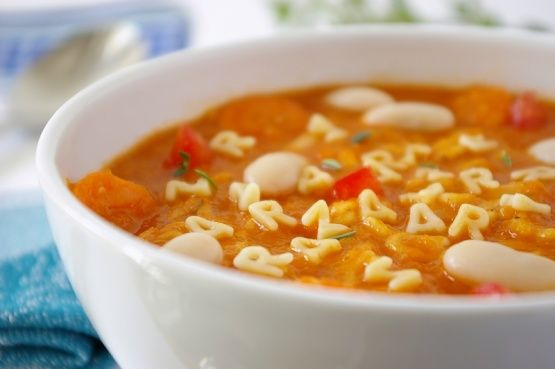 A delicious real alphabet soup which is much more nutritionally sound, as well as tastier, than the canned stuff. Recipe from Stealth Health Mar/99. In the ingredients, Dried Italian herb seasoning is just regular dried Italian herb.