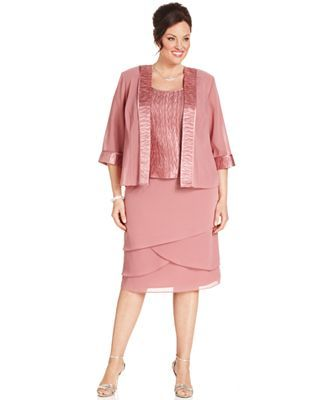 Le Bos Plus Size Outfit Three Quarter Sleeve Jacket Sleeveless Top Tiered Skirt Dresses Sizes Macy S