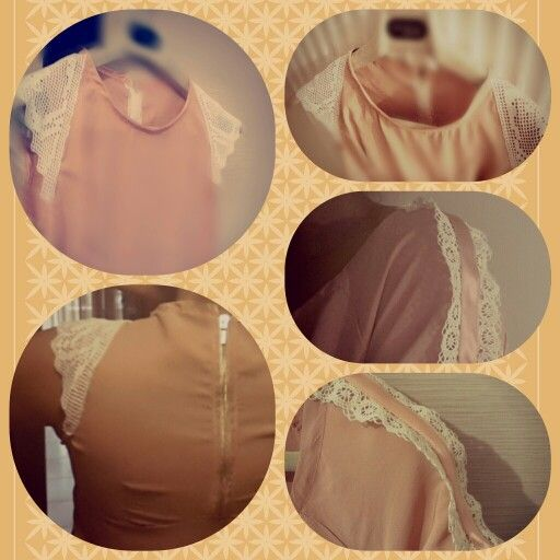 Peach pink dress with handmade lace sleeves by ♡Elsa♡