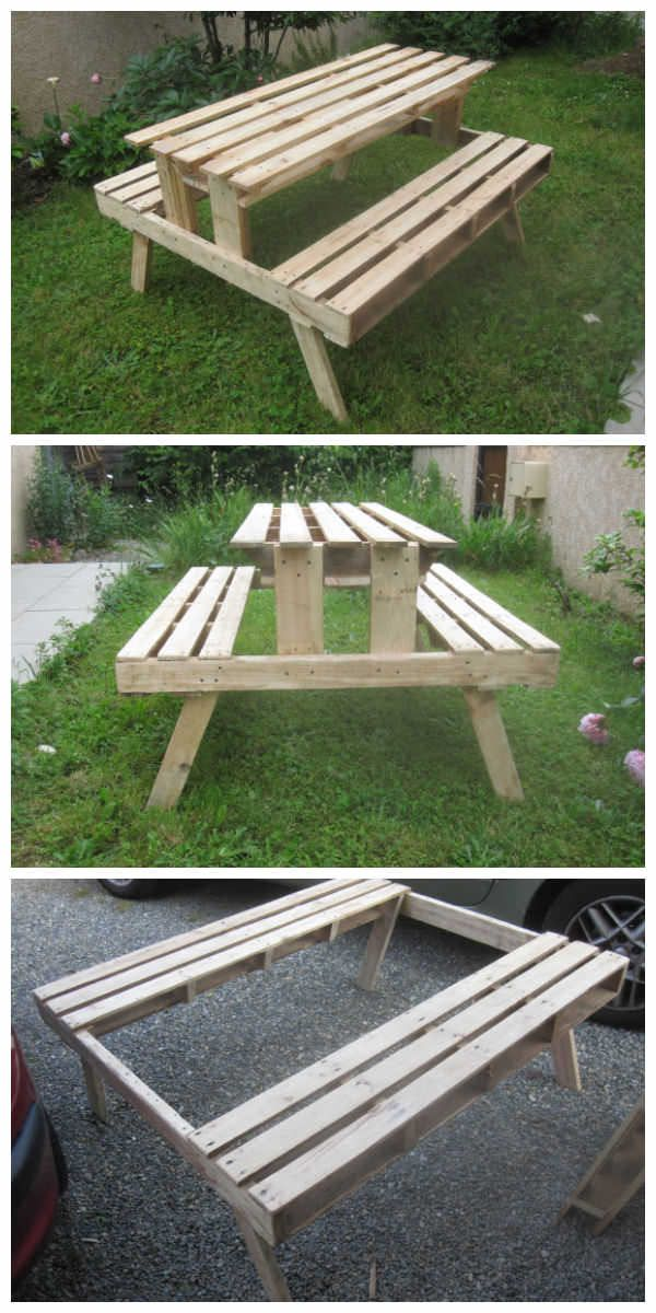 Garden Picnic Table Made With Discarded Pallets #DIY, #Garden, #PalletBench, #PalletTable, #RecycledPallet