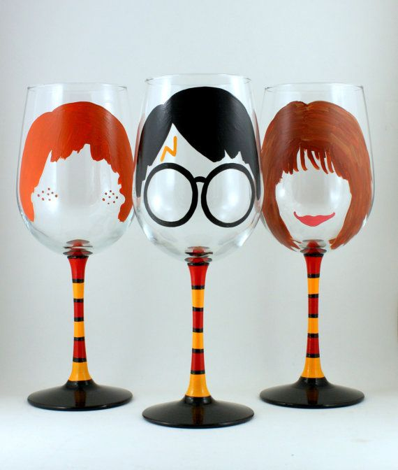 Potter Friends SET of THREE Wizard Boy Wine Glass Hand Painted Wizard Spells Wand Personalized Custom Unique Gift for Book Lover