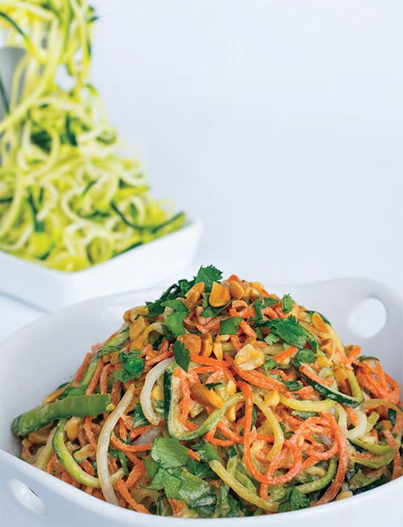 spiralized zucchini and carrots fill in for noodles in this raw pad thai recipe from Spiralize by Beverly Lynn Bennett