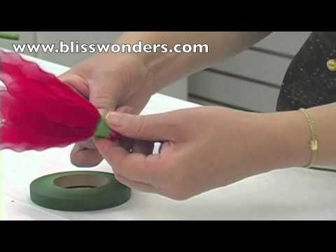 FREE VIDEO TUTORIAL ~ How To Make Nylon Flowers 05 (Poinsettia) blisswonders.com (+playlist)