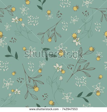 Seamless vector pattern with floral design and beetles for covers, textile and backgrounds