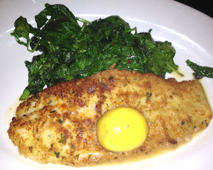 At Adriana's, New Haven -- The evening's special of John Dory, (sea bass) was lightly breaded and baked with fresh lemon and white wine. Delicate, delicious ($26.95) and served with fresh garlicky spinach.