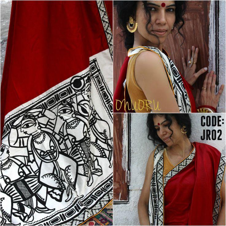 OnuOru » Red Handpainted Muga Silk Saree JR02