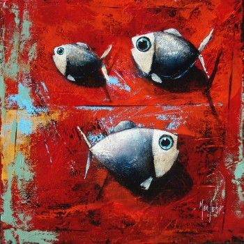 Trois poissons sur fond rouge - Acrylique sur toile