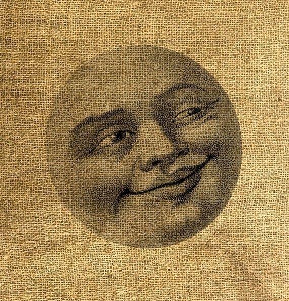 INSTANT DOWNLOAD l'uomo nella luna illustrazione d'epoca di room29, $3.00