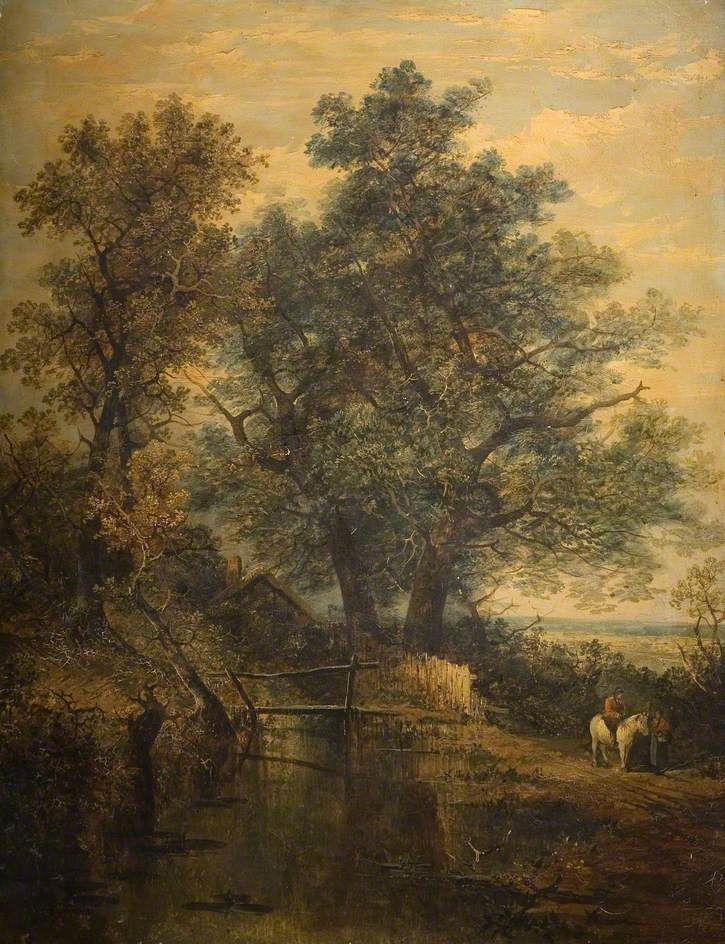 """A Stream, Bridge, Trees And Two Figures In A Landscape"" ... by John Crome"
