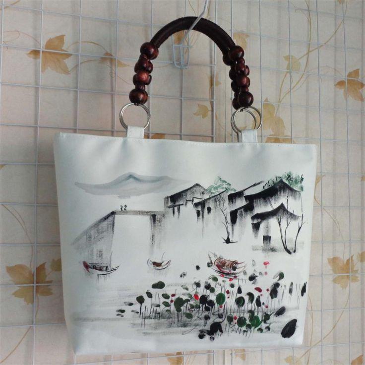 Yeni Ulusal Etnik tuval Mürekkep Manzara el boyama çantası bağbozumu büyük çanta ahşap boncuk beyaz omuz çantası yüksek kalite(China (Mainland))