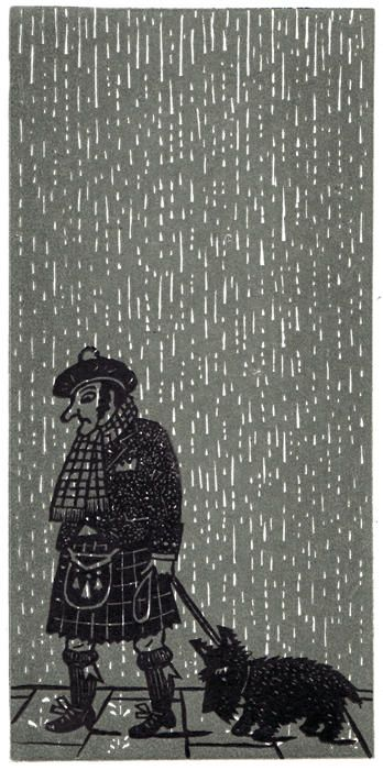 "Christopher Brown's ""Dreich Day with Dug"" linocut created for our St Jude's In The City exhibition in Edinburgh in 2013"