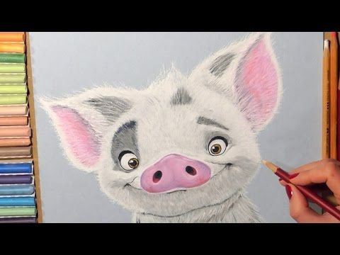 Drawing Pua Pig from Moana. Soft Pastel. - YouTube