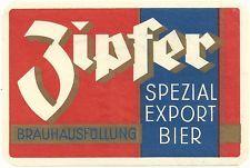 Vintage Zipfer Spezial Export Bier Label - Zipf, Austria