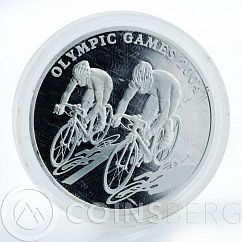 Kazakhstan 100 tenge Olympic Games Cycling Race silver proof coin 2004