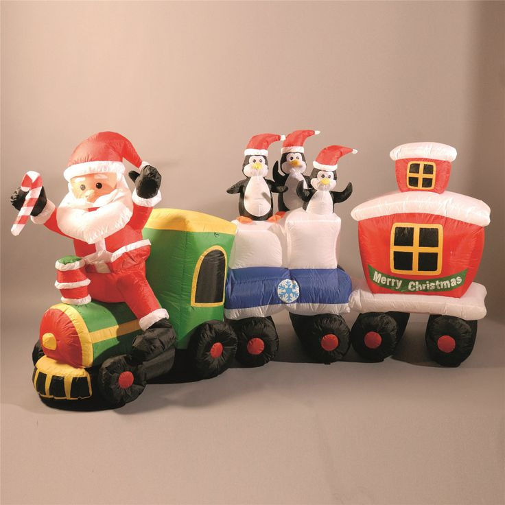 LB International 82 Inflatable Lighted Santa Express Train Christmas