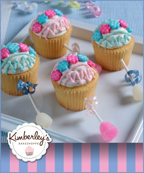 OMG! These adorable baby shower rattle cupcakes are so easy and SO CUTE!