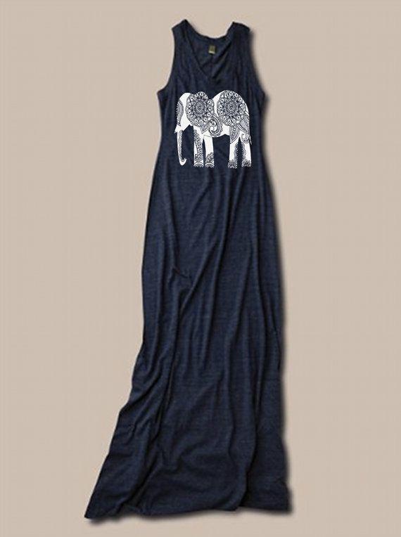 Womens BOHO Paisley ELEPHANT  Bohemian Tank Top Dress screenprint maxi beach coverup S M L XL More colors
