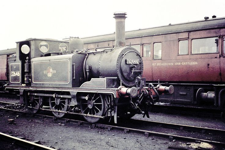 """LB&SCR/SR. Marsh """"A1X"""" 'Terrier' class 0-6-0T No. 32646. At Eastleigh Shed (71A), on the 10th July 1960. Photo by Ron Bowyer"""