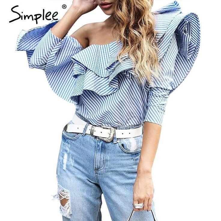 Купить товарSimplee Одно плечо оборками блузка рубашка женщины топы 2016 осень Повседневная синий полосатый рубашка С Длинным рукавом прохладный блузка зима blusas в категории Блузки и рубашкина AliExpress.                                                                              Simplee Одно плечо оборками блузка ру