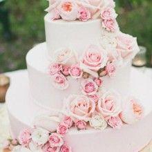 Rosa Hochzeitstorte mit rosa Rosen