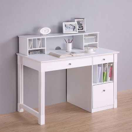deluxe solid wood desk with hutch white walker edison - Solid Wood Desk