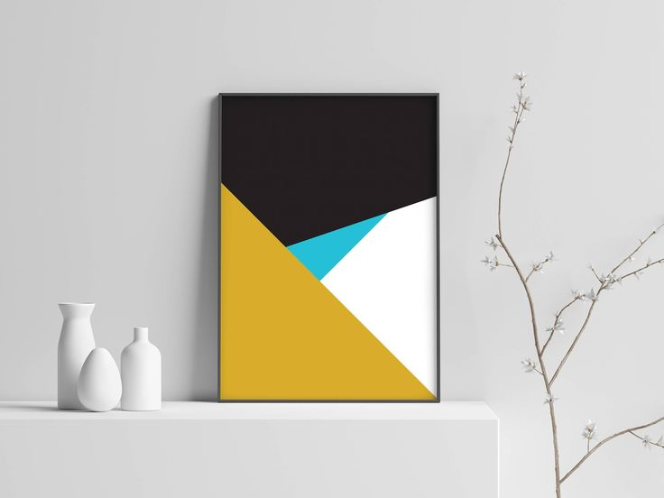 Blue and Mustard Modern Wall Print / Large Wall Art / Geometric art print / Minimalist Poster / Art Print / Scandinavian Art Print by EmmaFosterDesign on Etsy https://www.etsy.com/uk/listing/595453587/blue-and-mustard-modern-wall-print-large