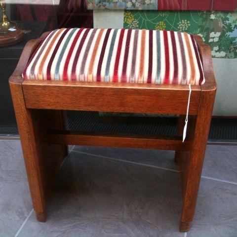 Oak Stool with Velvet Stripe - ReVamp Vintage