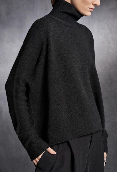 #allblack Knitwear. URBAN ZEN by Donna Karan. Oversized Turtleneck Sweater. 100% Cashmere. Made in Italy. #knitwear