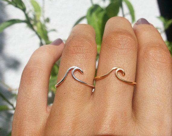 Wave ring/knokkel Wave ringen/zilver Wave door MiraClesStudio