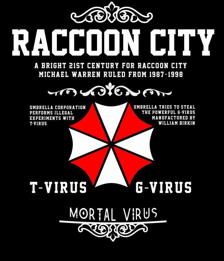 Camiseta Resident Evil. Raccoon City, mortal virus Camiseta del popular videojuego Resident Evil con la imagen de la corporación Umbrella. En la camiseta, con un especial y marcado estilo vintage, se describe una breve historia de la historia del videojuego.