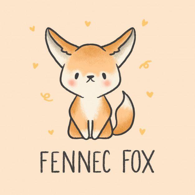Cute Fennec Fox Cartoon Hand Drawn Style Cute Cartoon Drawings