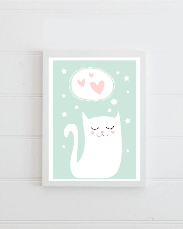 Süßes Poster mit Katze fürs Kinderzimmer, Wandgestaltung / cute wall decoration art print with cat made by BLACK DOT STUDIO via DaWanda.com