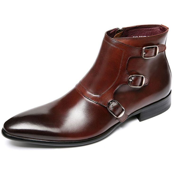 Men Leather monk strap dress Boots Lace Up oxford Shoe Pointy Toe boots in Clothing, Shoes & Accessories, Men's Shoes, Boots | eBay
