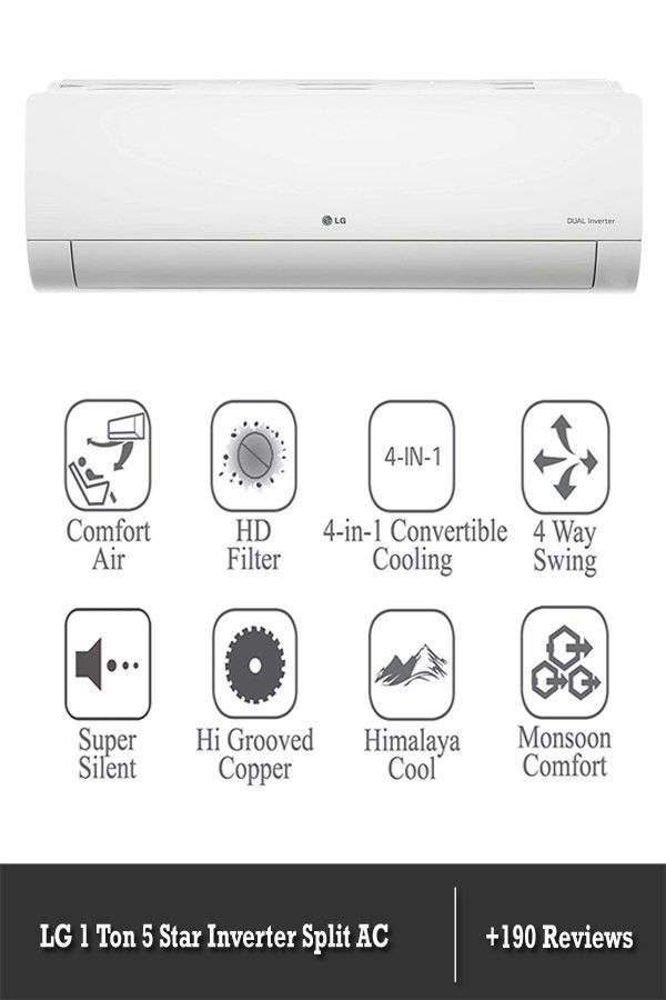 Lg 1 Ton 5 Star Inverter Split Ac Copper Ls Q12ynza Convertible 4 In 1 Cooling White In 2020 Split Ac India Shopping India