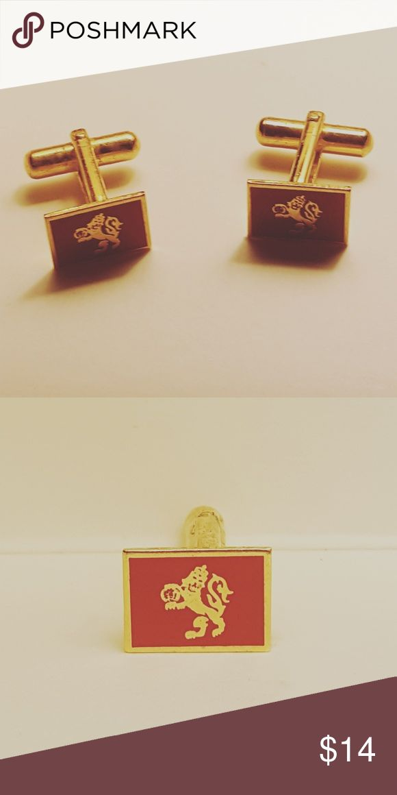 Pair of Red and Yellow Vintage Cufflinks Beautiful accessory for men or women. Accessories Cuff Links
