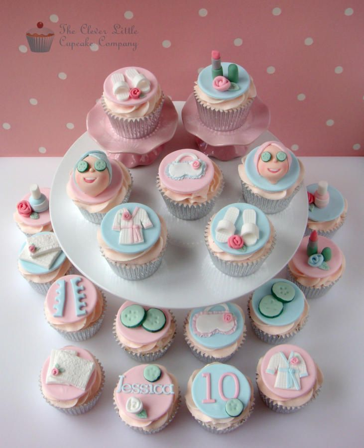 Made for a young girl having a pamper party. All vanilla cupcakes.