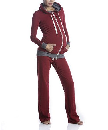 Take a look at this Burgundy Maternity Zip-Up Hoodie & Sweatpants by Lilac Maternity on #zulily today!