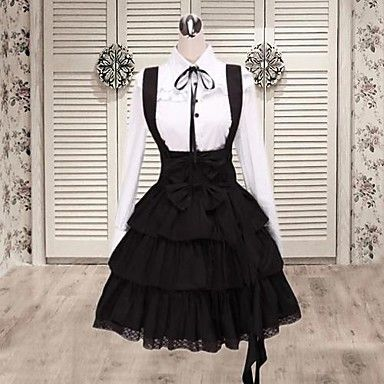 Long Sleeve Shirt Knee-length Suspender Skirt Cotton Classic Lolita Outfit – USD $ 52.99