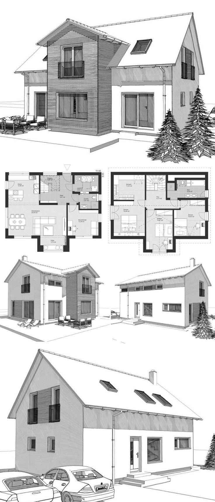 Einfamilienhaus Neubau Grundriss klassisch mit Sat…