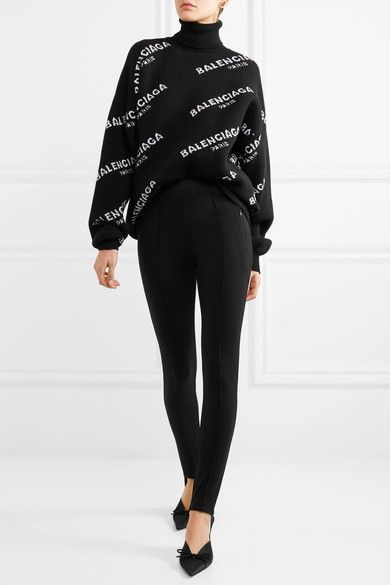 Balenciaga - Oversized Intarsia Wool-blend Turtleneck Sweater - Black - FR