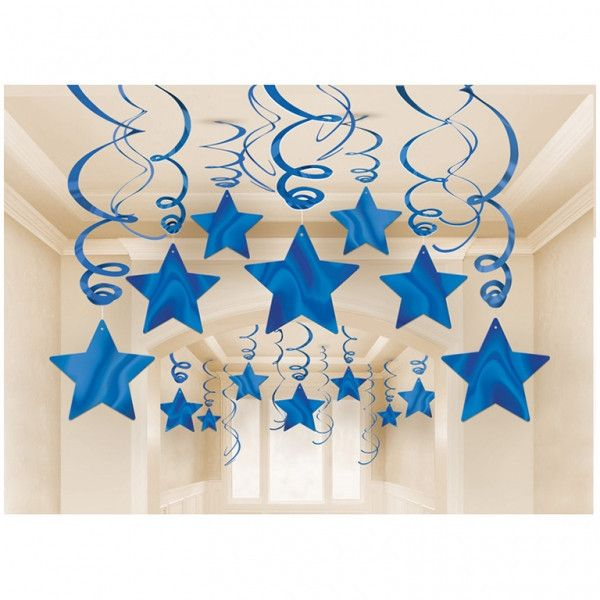 You're a star and now everyone can know it with these royal blue shooting star foil swirl decorations. Perfect for birthdays and other parties. Includes 30 deco