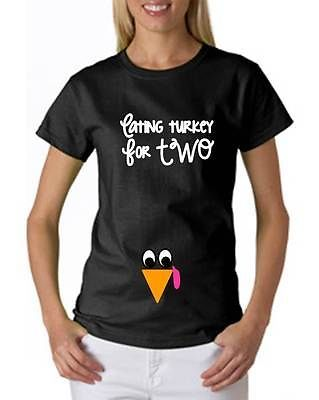 Pregnant Baby Rhinestone turkey Thanksgiving T-Shirt Maternity Eating Turkery for Two Black Tee