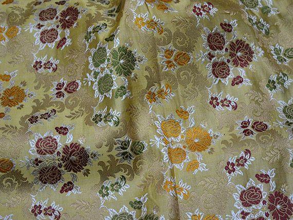 Beige Banarasi Brocade Fabric by the Yard Indian Fabric for