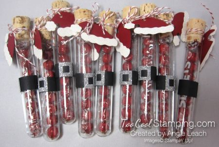 Jolly Santa Hat Test Tubes. Learn how to make them at TooCoolStamping.com