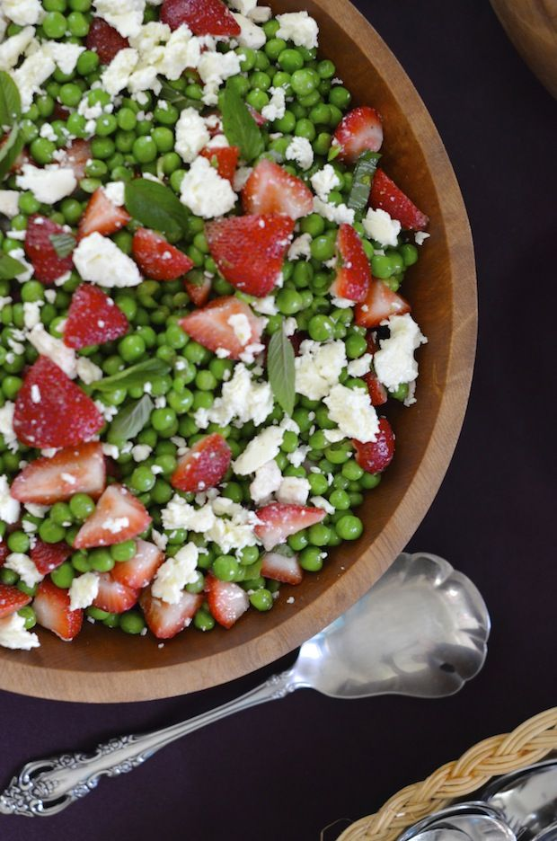 English Pea, Strawberry & Feta Salad with Minty Lime Vinaigrette | Always Order Dessert