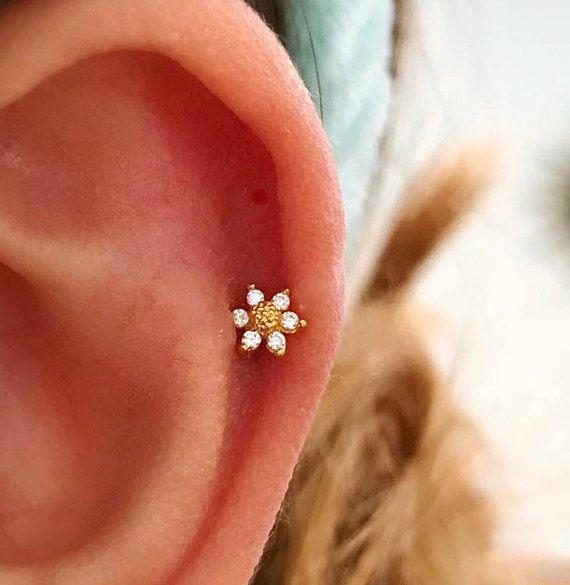 Mini sunflower cartilage earring, small tragus earring, dainty barbell flower stud, helix daith conch earring, tiny flower tragus earring