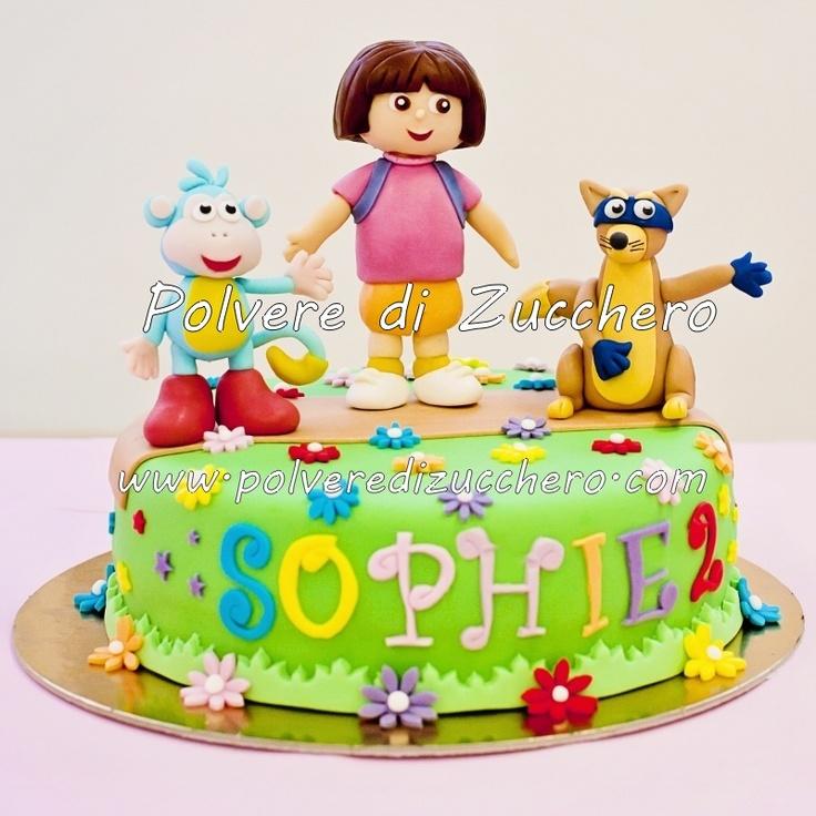 Polvere di Zucchero: cake design e sugar art.Corsi decorazione torte,biscotti e cupcakes: Torta di Dora l'esploratrice con Boots la scimmietta e Swiper la volpe