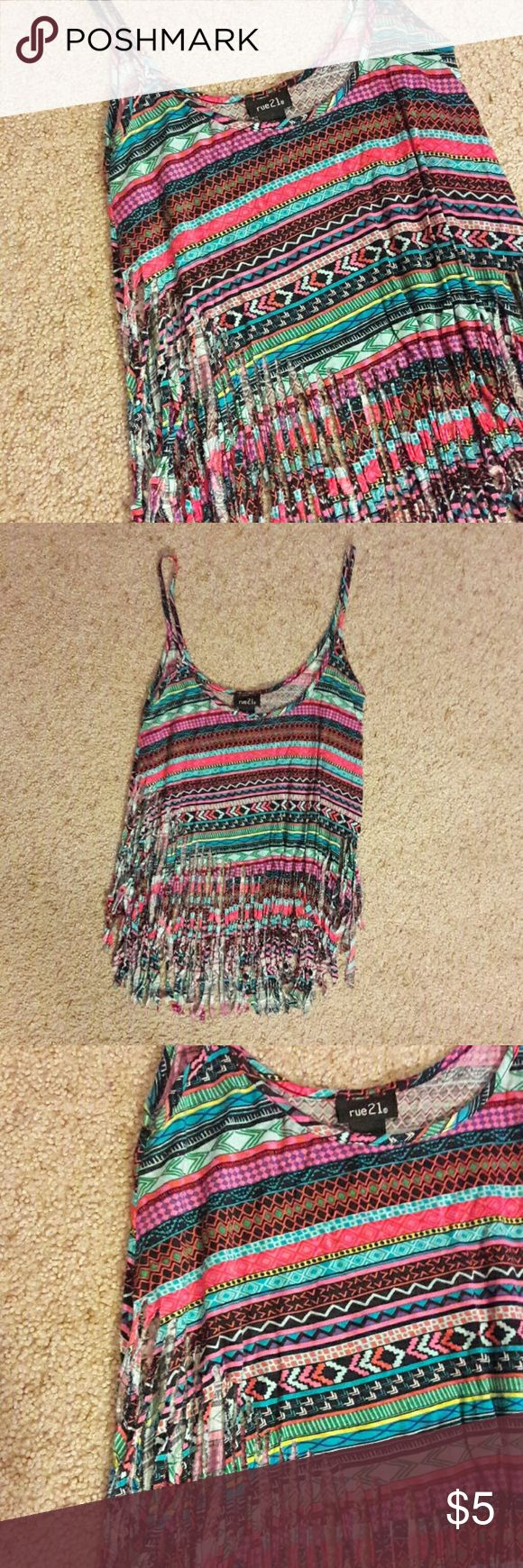 Fringed Crop Top TangTop Great condition - no imperfects. Worn once. Vibrant colors! Multicolored with the fringe cutting up higher on the sides (pic 3). Fun summer tang top or for going out! Rue 21 Tops Crop Tops