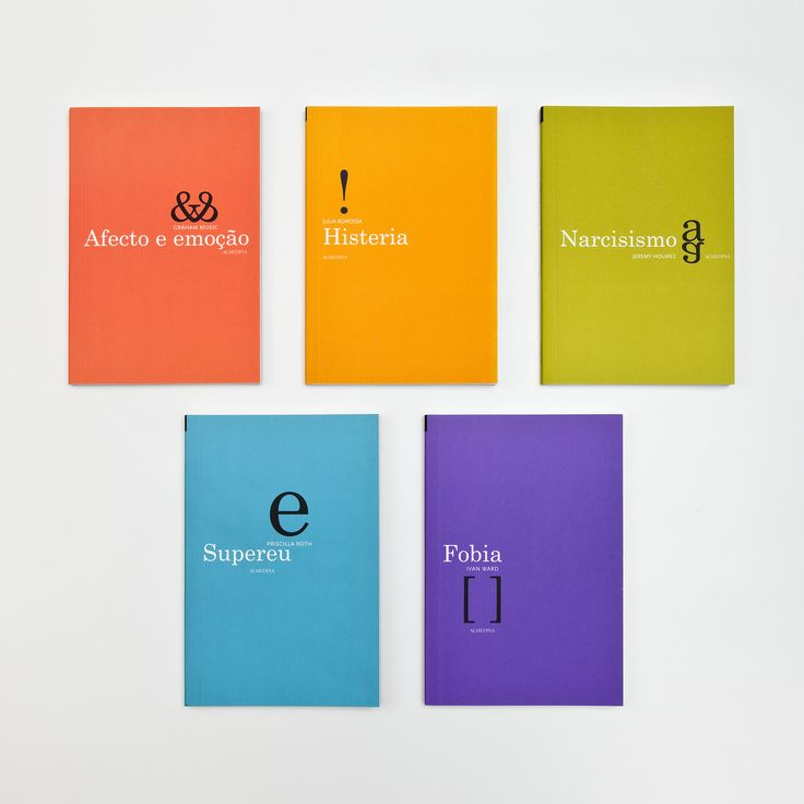 Psychoanalysis book series covers: each volume represented by a typographic illustration
